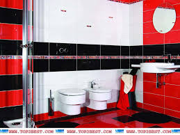 red white black bathroom