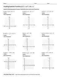 quadratic functions f x u003dax 2 bx c algebra worksheet 2