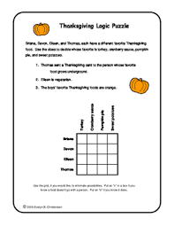 thanksgiving logic puzzle by christensen puzzles math and more