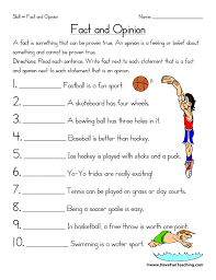 fact and opinion worksheets have fun teaching