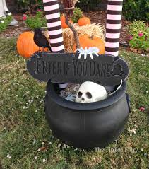cool halloween yard decorations halloween outdoor decorations it u0027s a witch crashing the tiptoe