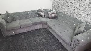Chesterfield Corner Sofas 5 Seater Chesterfield Corner Sofa In Fabric Any Colour Any