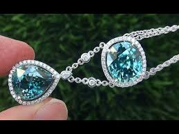 zircon blue necklace images Gia certified flawless natural blue zircon diamond 18k white gold jpg