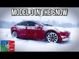 tesla model 3 snow test on all weather tires shows its tc system