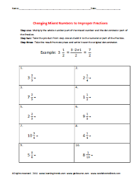 changing mixed numbers to improper fractions worksheets