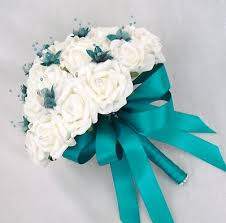 Teal Wedding Wedding Flowers Brides Posy Bouquet In Ivory Roses With Teal Ribbon