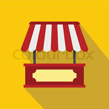 Red And White Striped Awning Store Kiosk With Red And Yellow Striped Awning Icon Flat