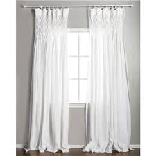 pom at home smocked white curtain panel