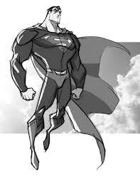 drawn superman hero body pencil and in color drawn superman hero