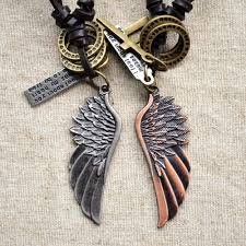 leather necklace women images Angle wings feather metal adjustable charm black leather necklace jpg