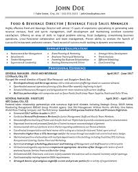 Bar Resume Examples by Food Beverage Manager Resume Example Restaurant U0026 Bar Sales