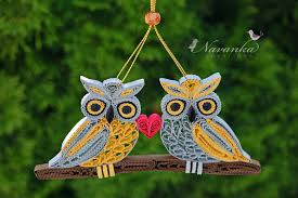 paper quilling owls on a branch together forever paper quilled