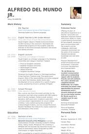 Sample Resume For English Teachers by Best Ideas Of English Teacher Resume Sample For Sample Gallery