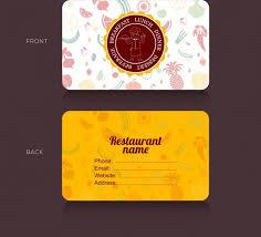 template kartu nama makanan ikon makanan template kartu nama restoran vignette ornamen vektor