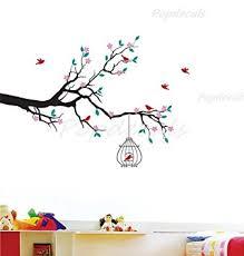 stickers muraux chambre fille ado custom popdecals printemps floral branche avec cage à oiseaux