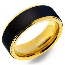 mens black tungsten wedding bands mens 8mm tungsten carbide ring with black matte finish yellow