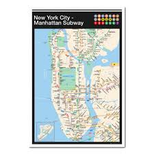Manhatten Subway Map by New York City Manhattan Subway Map Poster Iposters
