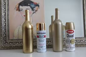 gold painted wine bottles diy gold spray painted bottles
