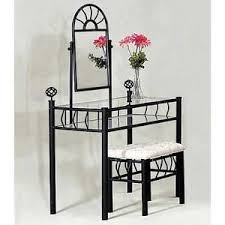 Glass Vanity Table Foundry Metal And Glass Vanity Set With Bench And Mirror