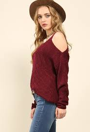 open shoulder sweater knit open shoulder sweater shop and now at papaya clothing