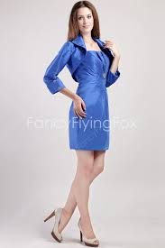 royal blue satin a line mini length wedding guest dresses with