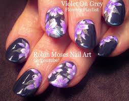 nail art purple and gray flower nails floral nail design