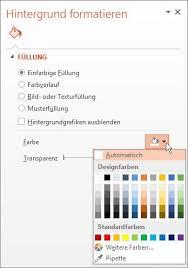 powerpoint design zuweisen formatieren der hintergrundfarbe von folien powerpoint