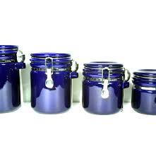 oggi cobalt blue locking canister set with spoons ebth