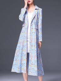 light blue trench coat light blue printed floral elegant trench coat stylewe com