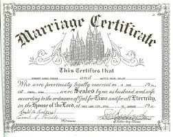 wedding certificates free dh and pearl fowlke temple marriage