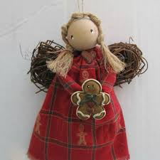 country angel homespun gingerbread grapevine wings christmas