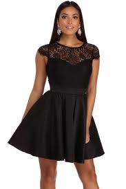 zoe black cap sleeve taffeta party dress
