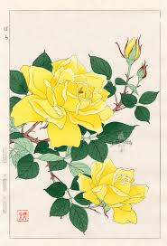Japanese Flower Artwork - rose from shodo kawarazaki spring flower japanese woodblock prints