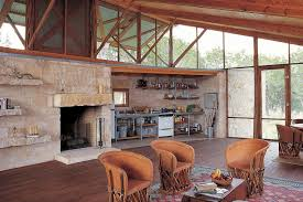 Lake House Kitchen Ideas by Hill Country Jacal Lake Flato Architects A Thick Limestone Wall