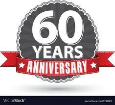 60 years anniversary celebrating 60 years anniversary retro label with vector image