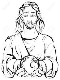 colouring page of jesus holding the hands planet earth royalty