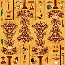 Ancient Egypt Interior Design Egypt Colorful Ornament With Ancient Egyptian Hieroglyphs On Aged