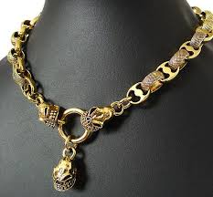 rock chain necklace images Heavy mafia skull gold brass choker necklace 20 quot big biker punk jpg
