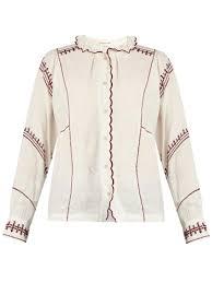 étoile isabel marant delphine ruffled high neck blouse in white lyst