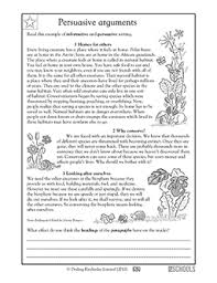 4th grade reading writing worksheets writing a persuasive