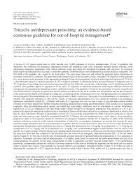 tricyclic antidepressant poisoning an evidence based consensus