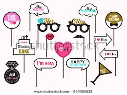 Wedding Photo Props Photo Booth Prop Wedding Party Featuring Stock Vector 659055835