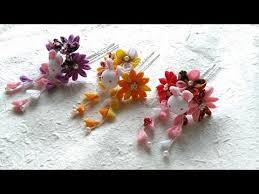 kanzashi hair pin d i y tsumami kanzashiつまみ細工 bunny and purple flower hair