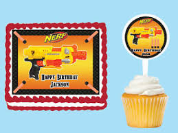 wars edible image nerf gun wars edible birthday party cake cupcake toppers plastic