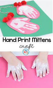 hand print mitten craft a dab of glue will do