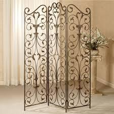decorative four panel folding room divider screen using black iron