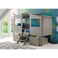 donco kids rustic grey finished pine wood twin tree house loft bed