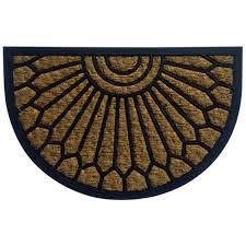 Exterior Doors B Q by B U0026q Black U0026 Natural Half Moon Coir U0026 Rubber Door Mat L 400mm W