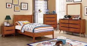 Childrens Bedroom Oak Furniture Lennart Cm7386a T 4pc Kids Bedroom Set In Oak Finish W Options