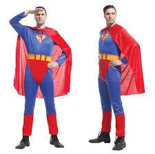 Halloween Jumpsuit Costumes Men Superman Halloween Jumpsuit Cloak Belt Costumes